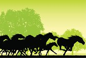 """Silhouette background illustration of a wild horse stampede. Check out my """"Vectors Animals & Insects"""" light box for more."""