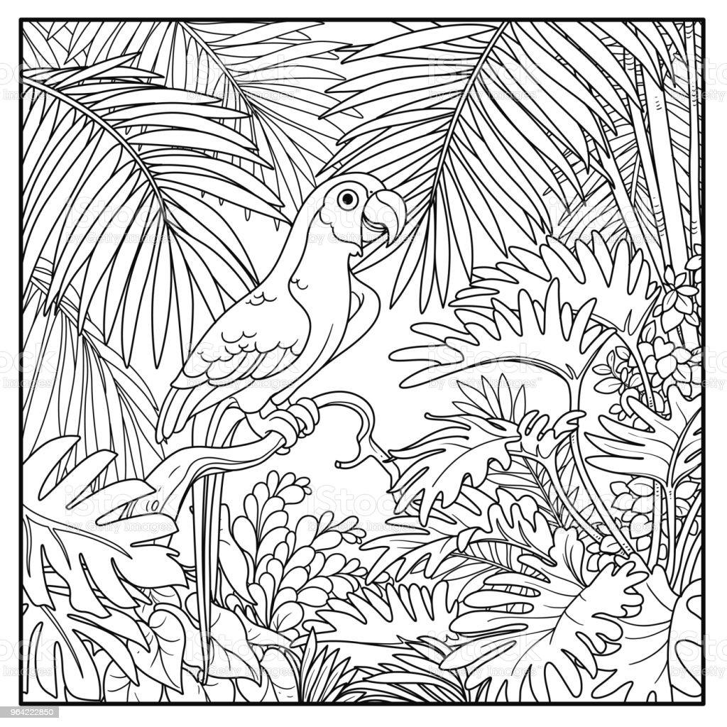 Ilustración de Salvaje Selva Con Loro De Guacamayo Sentarse En Línea ...