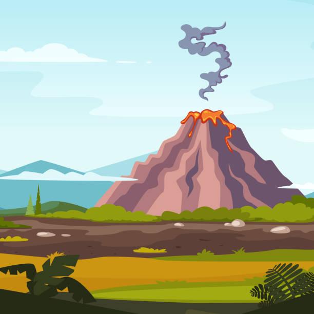 wilde landschaft mit vulkan und lava. cartoon-hintergrund für game-design-projekte - vulkane stock-grafiken, -clipart, -cartoons und -symbole