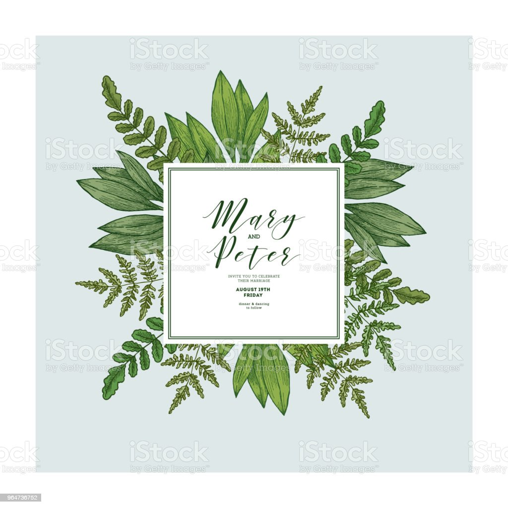 Wild Leaves Wedding Invitation Vintage Floral Design Template Stock ...