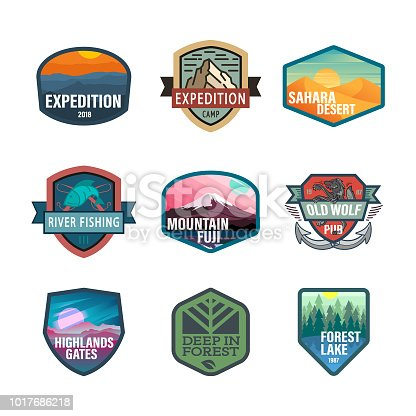 Travel, nature, hiking, hipster, Picnic, USA, Logo icon set