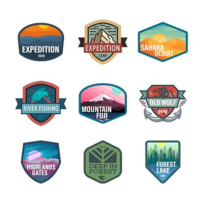 Wild life and adventure icons, emblem