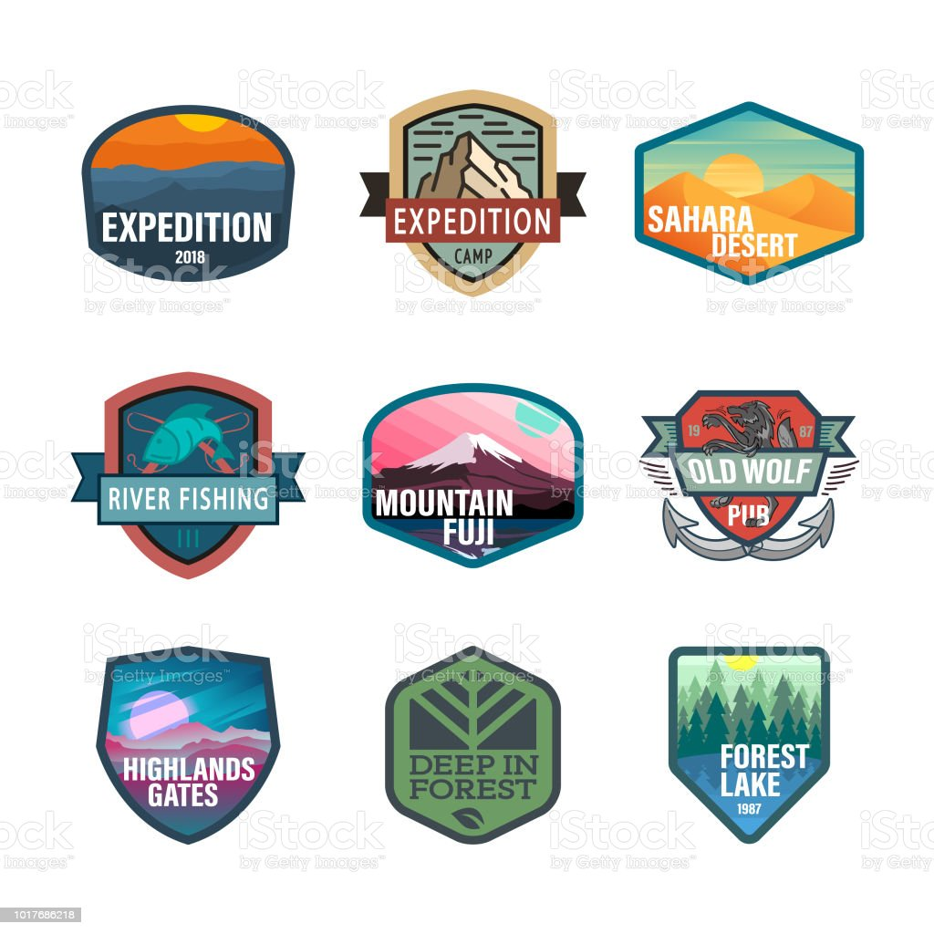 Wild life and adventure icons, emblem vector art illustration