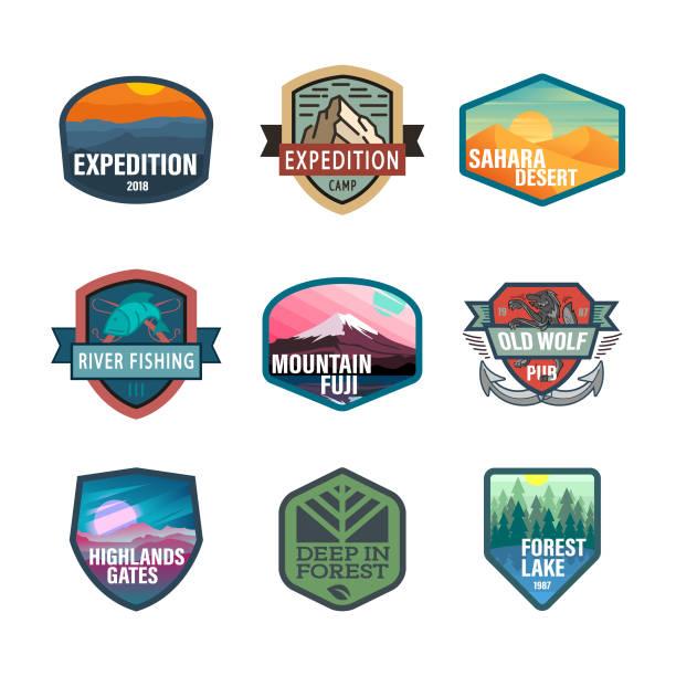 Wild life and adventure icons, emblem vector art illustration