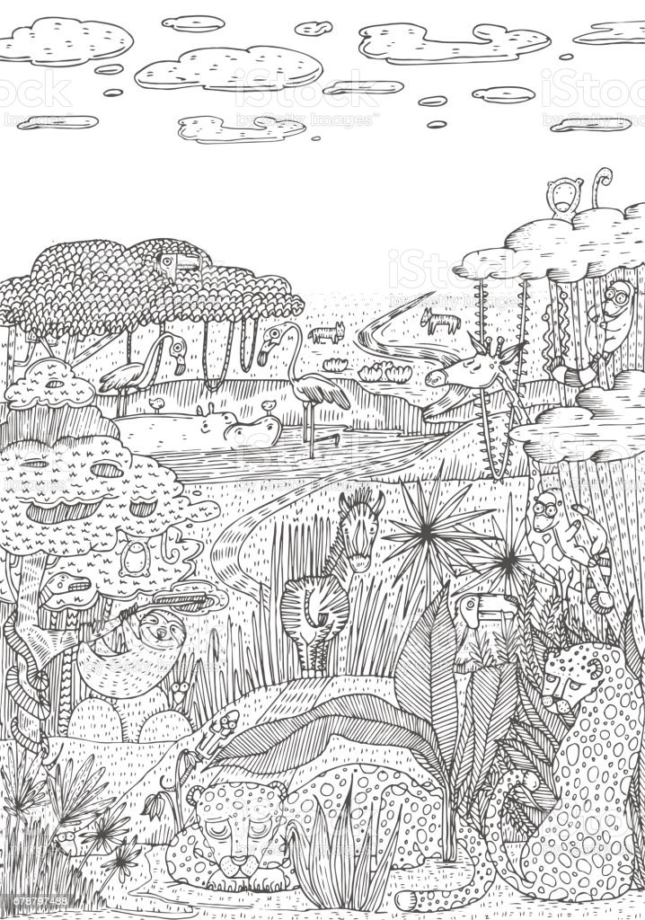 Wild Life In Jungle Drawn In Line Art Style Coloring Book Page