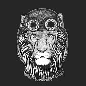 Wild lion Hand drawn picture for tattoo, emblem, badge, logo, patch, t-shirt