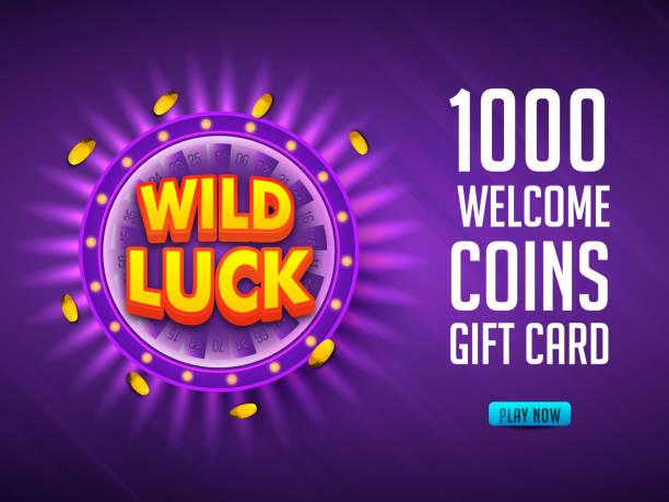 wilde glück text mit goldenen münzen auf violetten strahlen hintergrund für casino-geschenk-karte oder gutschein design. - swag stock-grafiken, -clipart, -cartoons und -symbole
