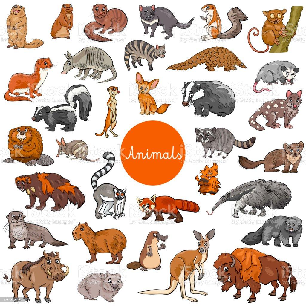 grand ensemble de caractères animales mammifères sauvages grand ensemble de caractères animales mammifères sauvages vecteurs libres de droits et plus d'images vectorielles de arranger libre de droits