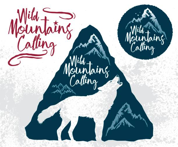 Wild Mountains Calling Vector Illustration with several design graphics, clip art, and handwriting message. With a wolf howling silhouette over a blue dark grunge triangle with several mountains profiles. silhouette of a howling coyote stock illustrations