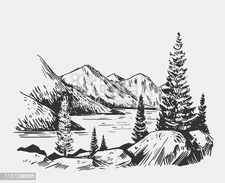 Wild natural landscape with lake, rocks, trees. Alaska region. Hand drawn illustration converted to vector.