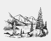 Wild natural landscape with lake, rocks, trees. Alaska region. Hand drawn illustration converted to vector.