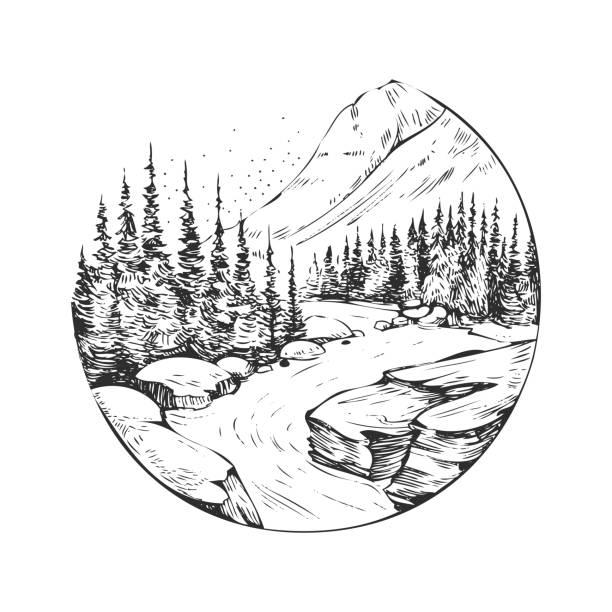 wilde naturlandschaft mit bergen, see, kiefern, felsen. die von hand gezeichnete illustration wurde in vektor umgewandelt. ideal für reiseanzeigen, prospekte, etiketten, flyer dekor, bekleidung, t-shirt-print. - landschaftstattoo stock-grafiken, -clipart, -cartoons und -symbole