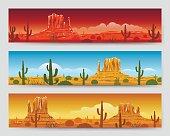 Wild nature desert mexican landscape banners