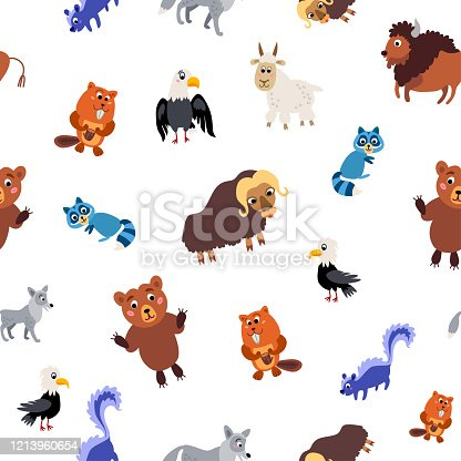 istock Wild North America animals seamless pattern in flat style 1213960654