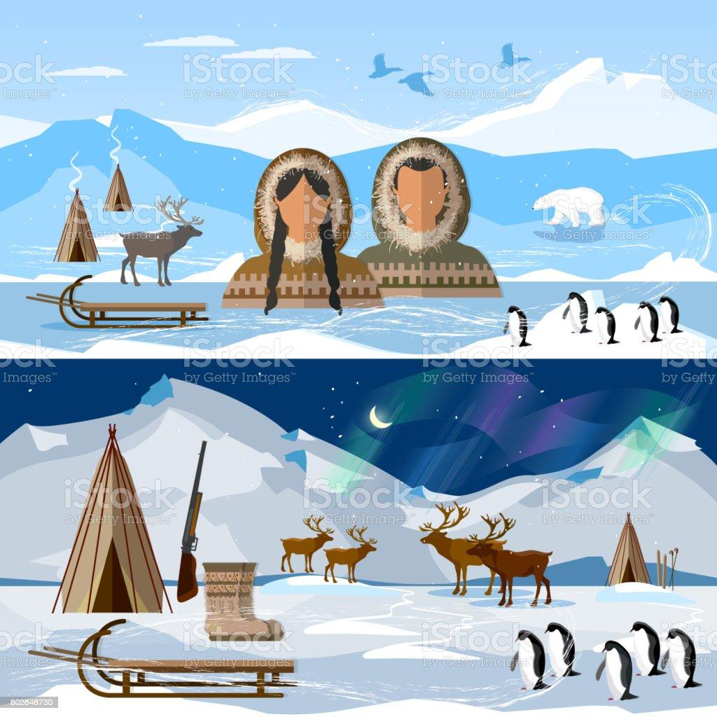 Top Wilder Norden Arktischen Banner Menschen In Traditionellen Eskimos &IQ_56