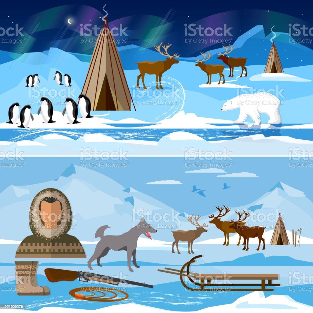 Gente del norte ártica salvaje en tradicionales esquimales traje Ártico animales. Extremo viaje a Alaska. Vida en el lejano norte - ilustración de arte vectorial
