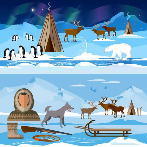 Wilder Norden arktischen Menschen in traditionellen Eskimos Kostüm und arktischen Tiere. Extreme Reise nach Alaska. Leben im hohen Norden – Vektorgrafik