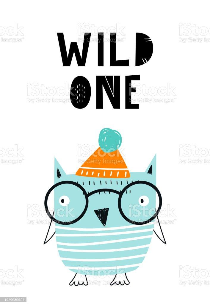 Wild One Süße Hand Gezeichnete Kindergarten Poster Mit Cool Eule ...