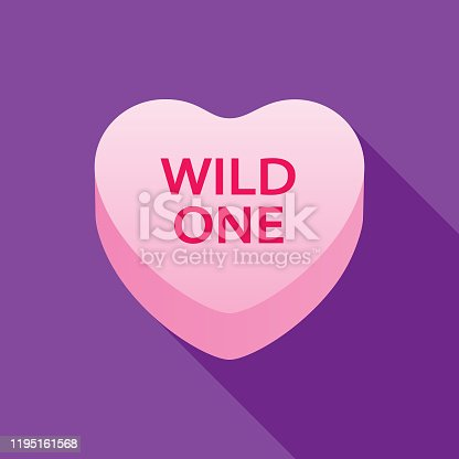 istock Wild One Valentine Candy Heart Icon 1195161568