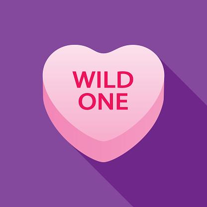 Wild One Valentine Candy Heart Icon