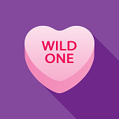 Vector illustration of a pink WILD ONE valentine heart on a purple background.