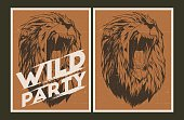 Wild party invitation template.