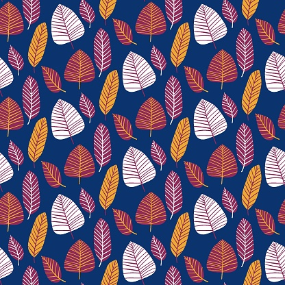 Wild plant leaves vibrant seamless pattern vector