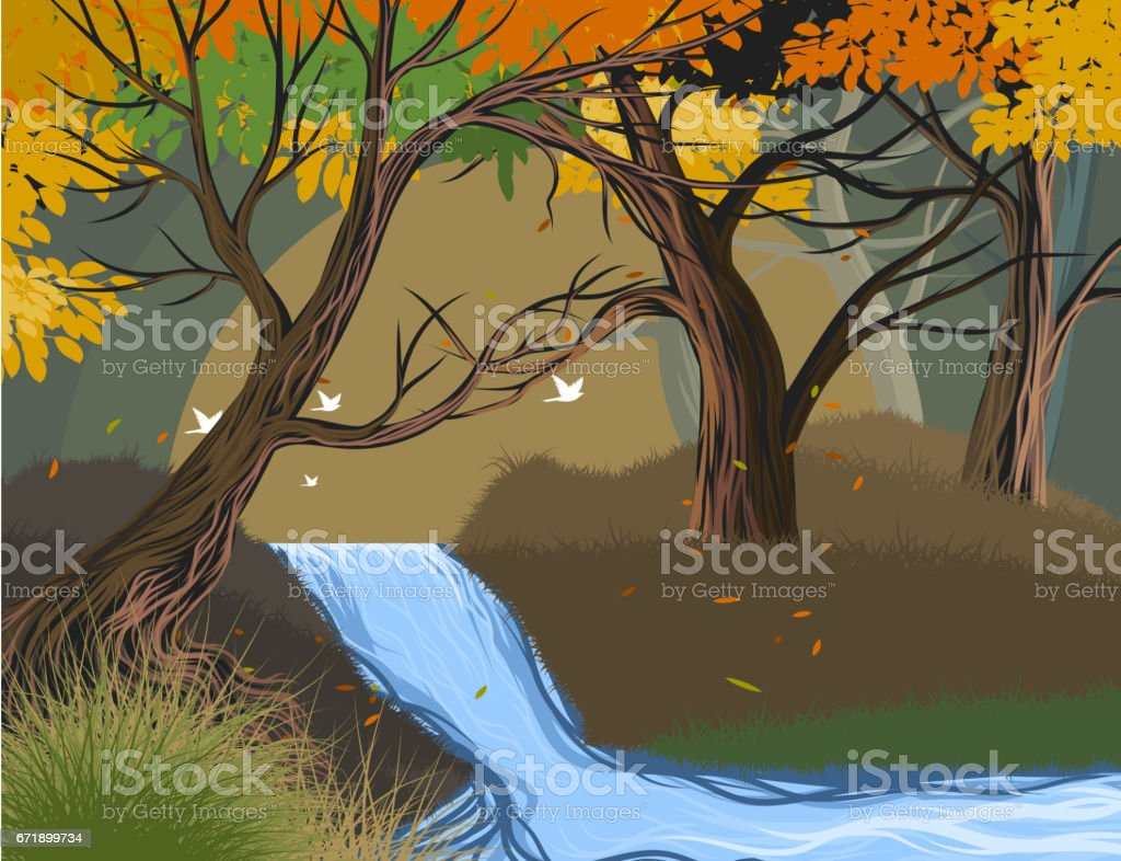 Wild river vector art illustration