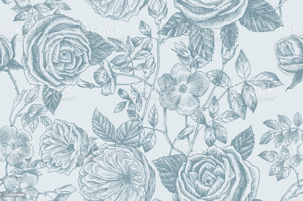 Blooming flower. Set collection. Hand drawn botanical blossom...