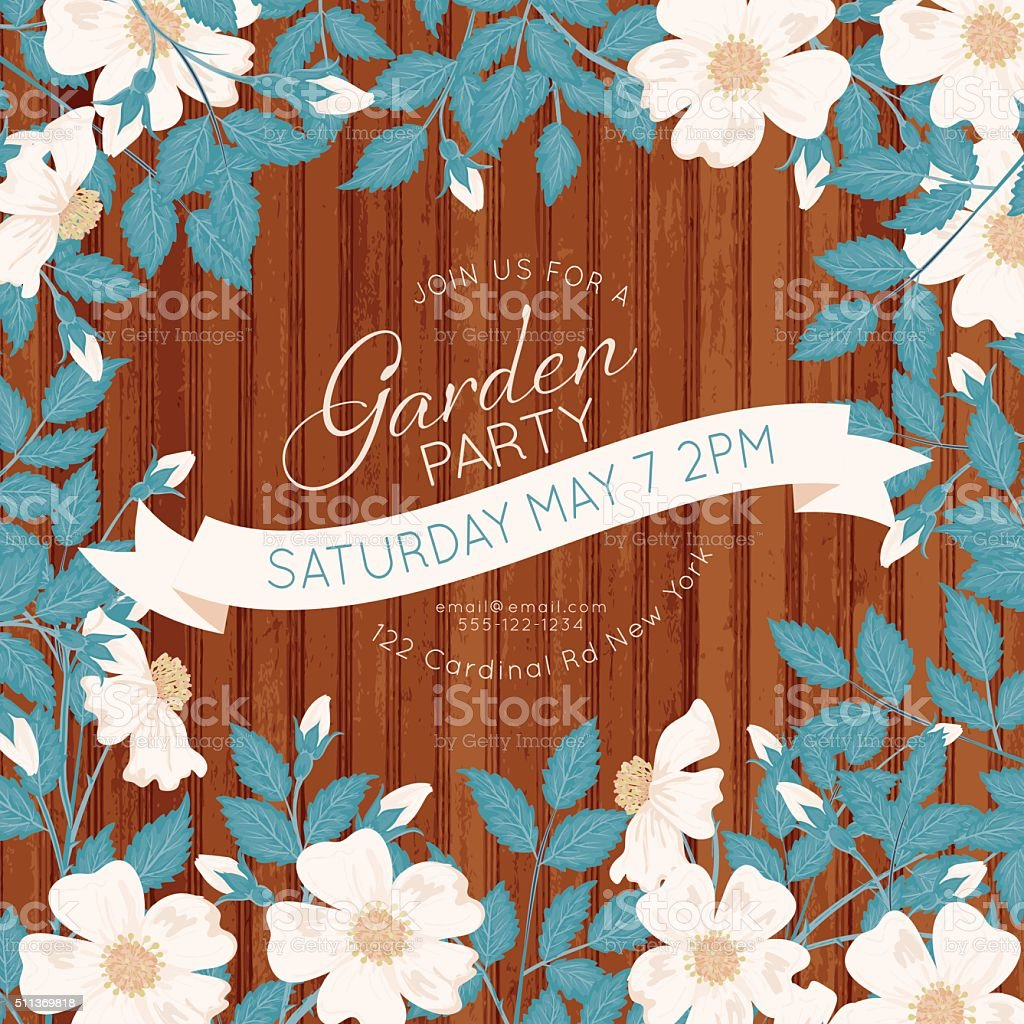 Wild Roses Vines Garden Party Invitation On Wood vector art illustration