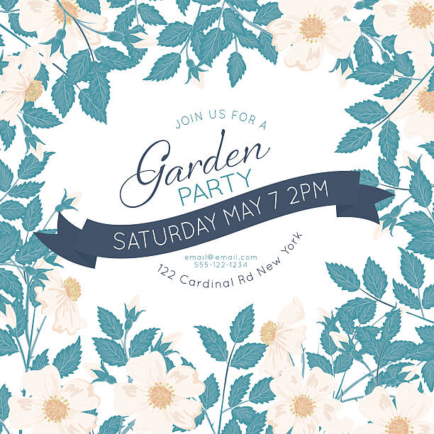 Wild Roses Vines Garden Party Invitation vector art illustration