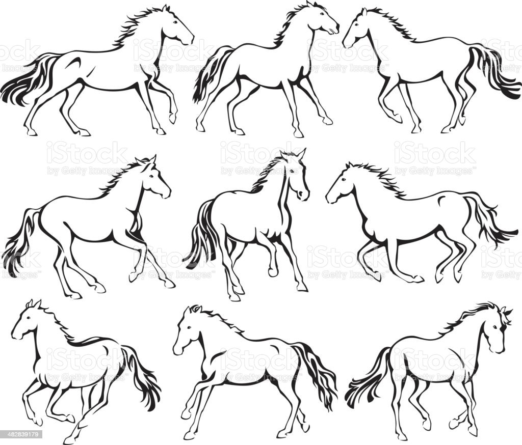 Wild Running Horses Line Art Stock Illustration Download Image Now Istock