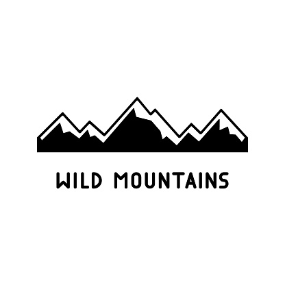 Wild snowy mountains with lettering. Black simple illustration