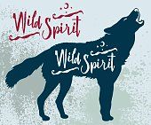 "Vector illustration of a wolf silhouette howling with a ""Wild Spirit"" text ortographic."