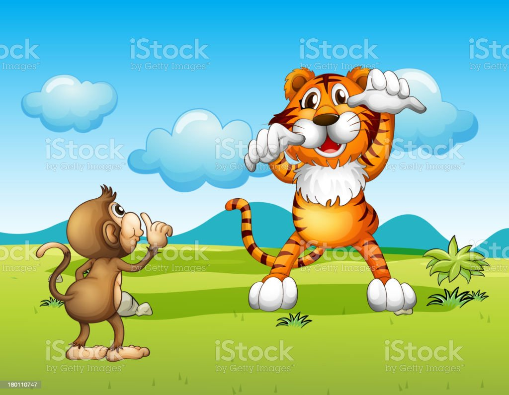 Wild tiger and a monkey royalty-free stock vector art