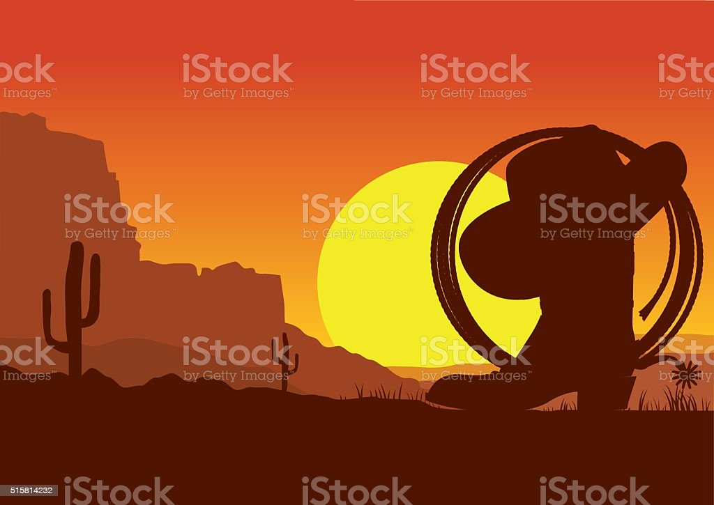Wild west american desert landscape with cowboy boot and lasso vector art illustration