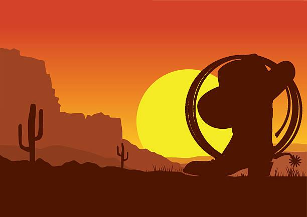 wild westen amerikanische wüste landschaft mit cowboystiefel und ein lasso - cowboystiefel stock-grafiken, -clipart, -cartoons und -symbole