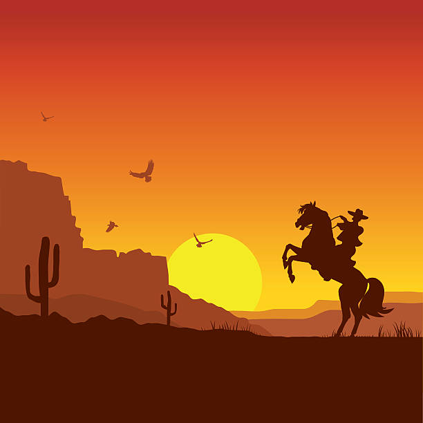 Wild west american desert landscape with cowboy on horse American wild west desert with cowboy on horse.Vector sunset landscape rancher illustrations stock illustrations