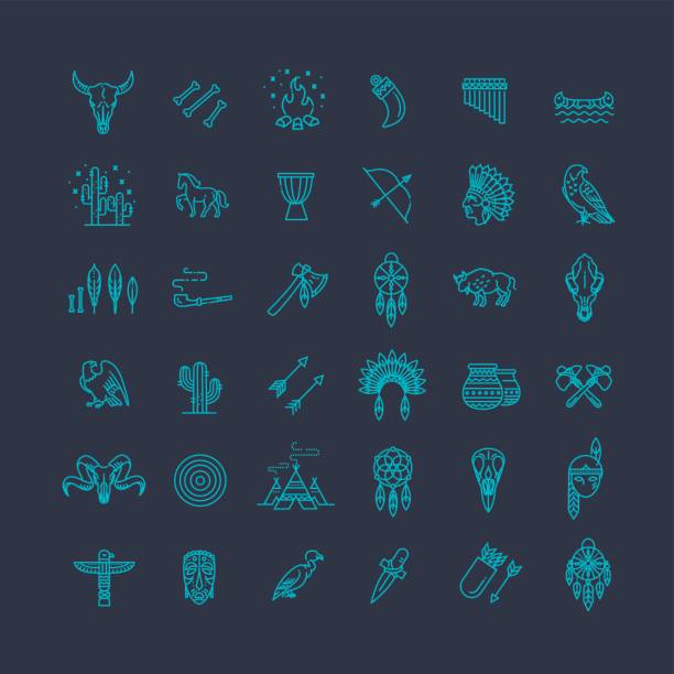 wild west indianer gestaltete element traditioneller kunstkonzept - kopfschmuck stock-grafiken, -clipart, -cartoons und -symbole
