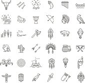 American indian. Tribal outline icon set. Vector