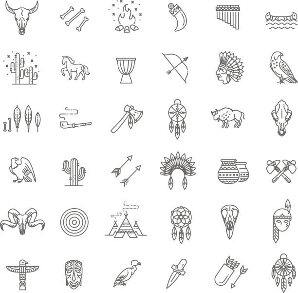 Wild west american indian designed element traditional art concept American indian. Tribal outline icon set. Vector indigenous peoples of the americas stock illustrations