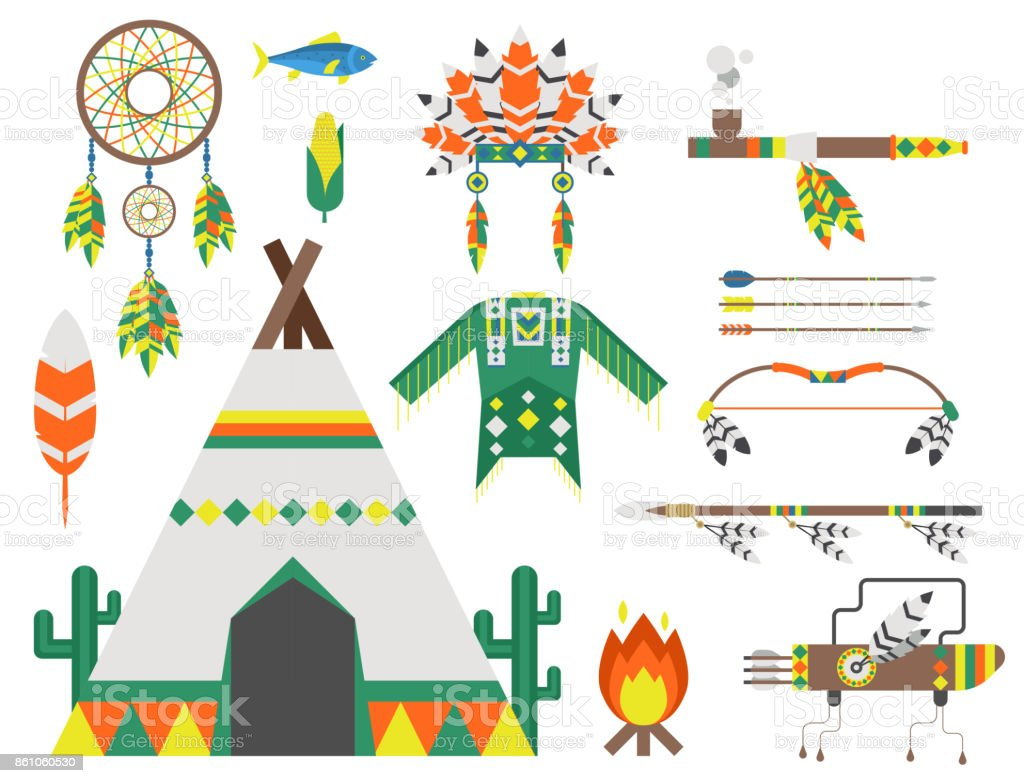 Wild West American Indian Designed Element Traditional Art Concept ...