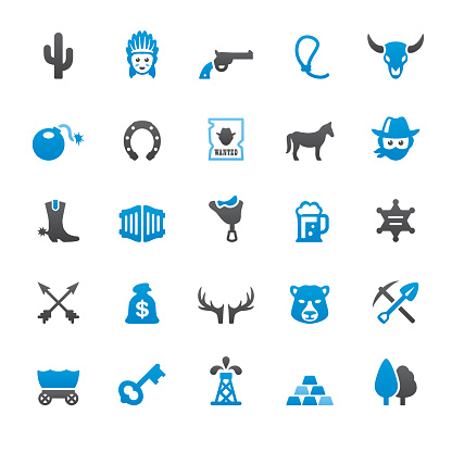 Wild West and Cowboy related vector icons