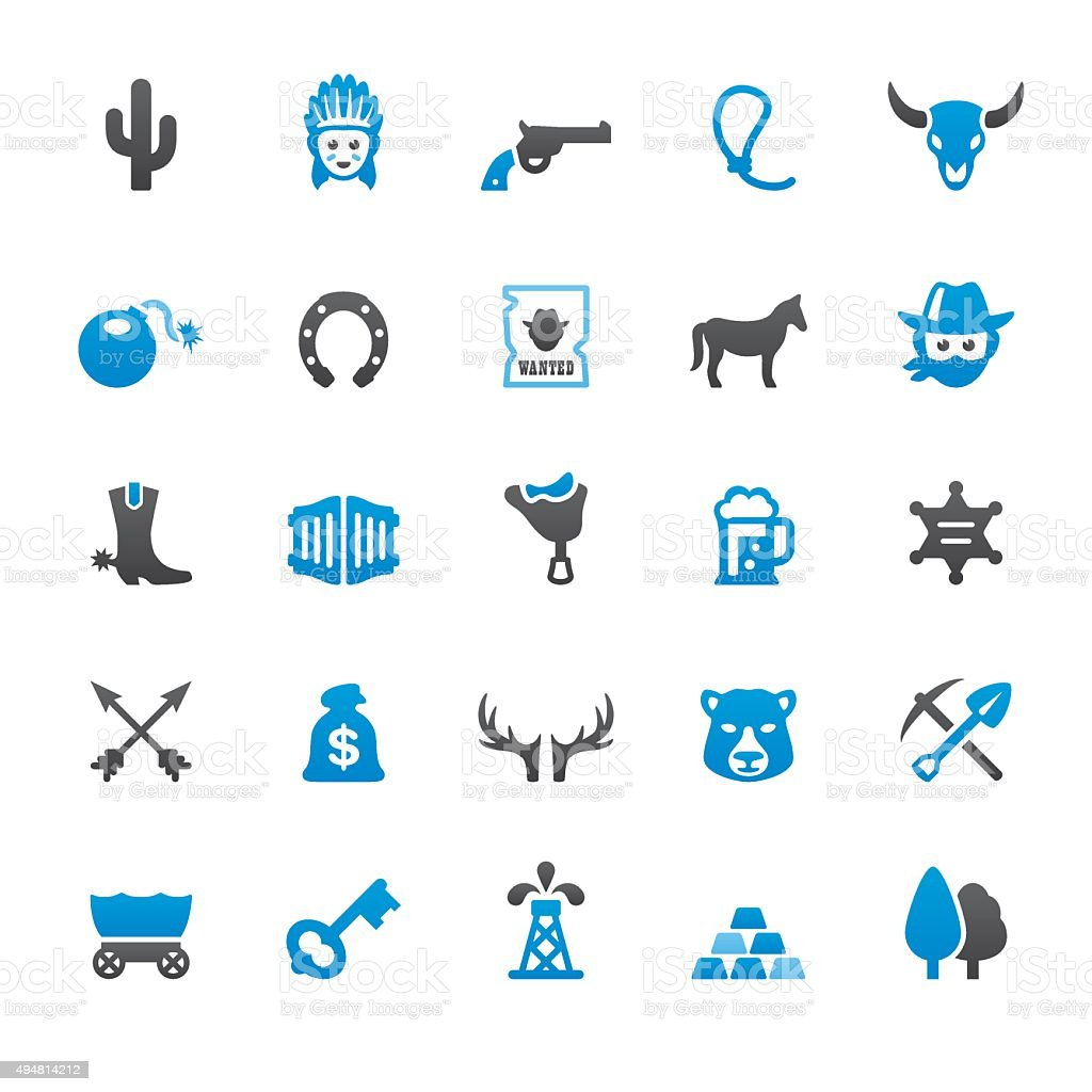 Wild West and Cowboy related vector icons vector art illustration