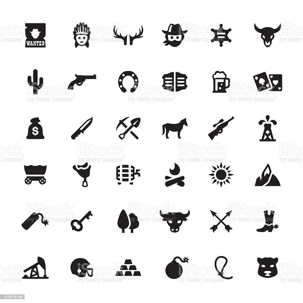 Wild West and Cowboy vector symbols and icons vector art illustration