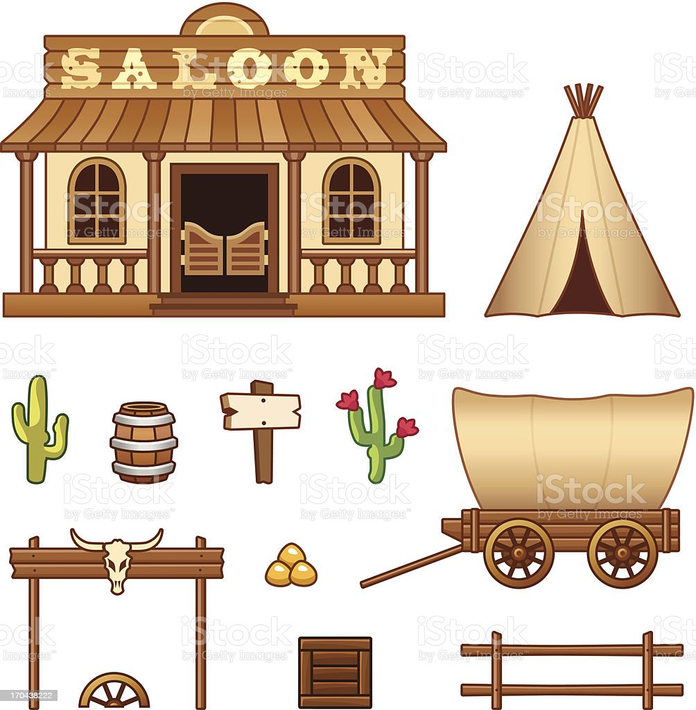 Wild West assets royalty-free stock vector art
