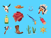 Wild west cartoon set. Cowboy boots, hat and gun. Bull skull, indian war bonnet and tomahawk. Isolated vector collection. Illustration of dynamite and cowboy, star badge american, revolver weapon