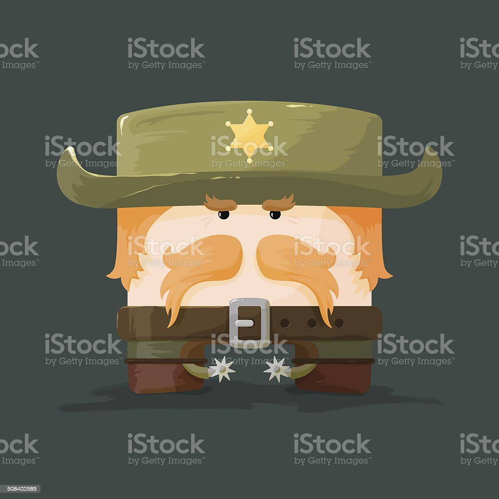 Wild west.  Cartoon sheriff with mustaches and hat vector art illustration