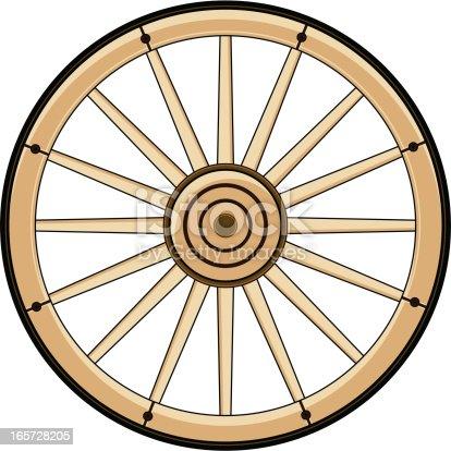 Vector Illustration of a Wild West Cowboys Chuck Wagon Wheel.
