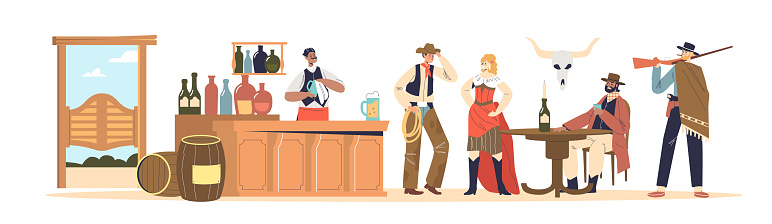 Wild west concept bar with people cowboys dressed in western clothes drinking and communicating